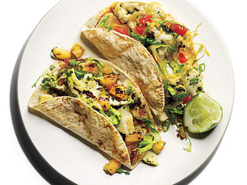Make these fish tacos a sustainable choice by opting for wild-caught Alaskan halibut. If not available, choose another U.S. or Canadian wild-caught Pacific halibut, or substitute striped bass or U.S. line-caught cod.