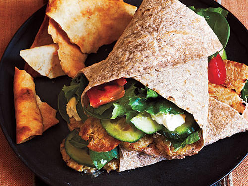 Tempeh Greek Salad Wraps Vegetarian Summer Entree Recipe