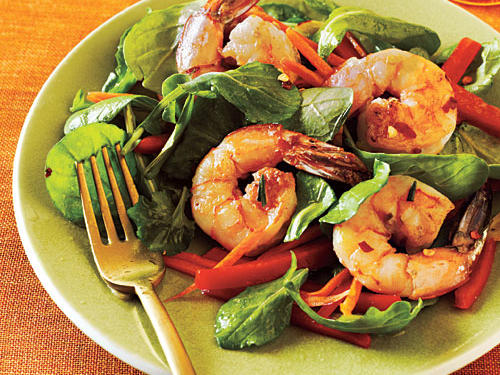 The white balsamic won't discolor the shrimp or bright veggies. For something a little sharper, substitute white wine vinegar.
