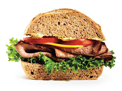 Run out to fast casual soup-and-sandwich chain for lunch. Instead of a smoked turkey (smoked = salty) and Swiss on wheat, opt for roast beef and cheddar.Saved: 810mg