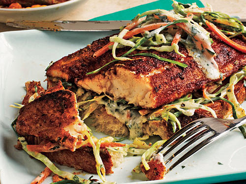 Don't skip out on the creamy cilantro slaw. It pairs wonderfully with oh-so-savory blackened catfish.