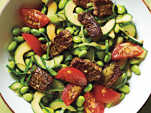 Edamame Salad with Crisp Steak Bits