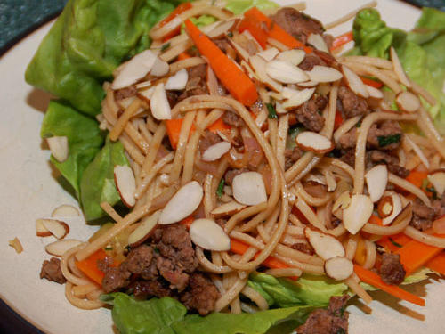 1106w Asian Beef and Noodle-Filled Lettuce Cups