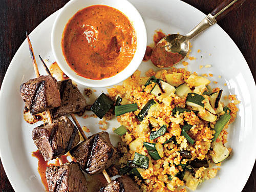 Sirloin Skewers with Grilled Vegetable Couscous and Fiery Pepper Sauce Recipe