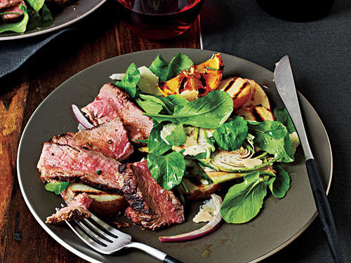 Based on the classic bistecca Fiorentina--grilled porterhouse--this dish uses sirloin strip steaks, which are leaner (and, because they're boneless, a little easier to grill) than porterhouse. Lemon juice is a traditional accent in the dish, meant to cut the richness of the meat. Use a mandoline to slice the artichokes thinly and evenly.