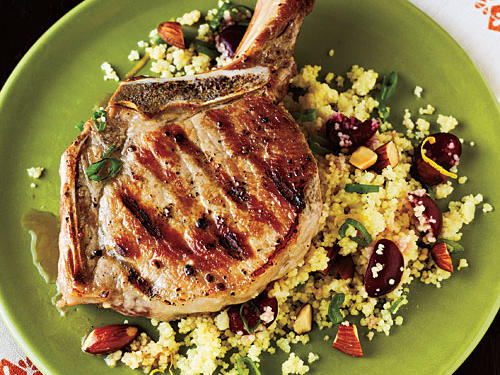 Pork Chops with Cherry Couscous Recipe