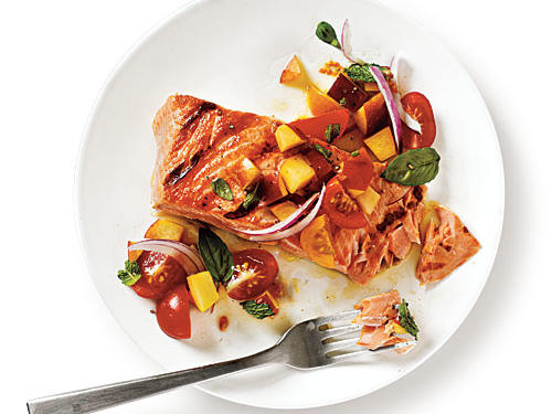 Use a peach that's just ripe so it's juicy but still holds its shape. King (also called chinook) salmon is the best quality and works well in this dish, though sockeye works.