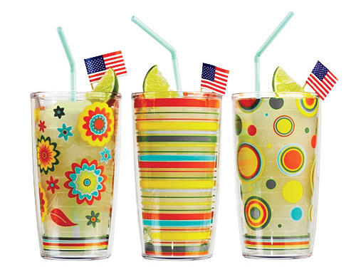 Double-walled Tervis Tumblers protect the wood. Made in Florida, designed to match your Fiesta dinnerwarePrice: $12 eachShop: Tervis