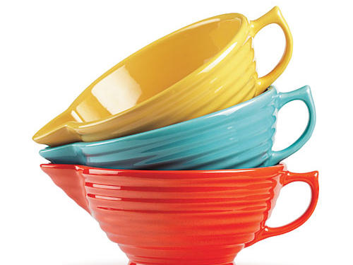 Bauer's bright batter bowls provide a pop of California sunshine. Stir, pour, cook your pancakes!Price: $50-$55 eachShop: Bauer Pottery Company
