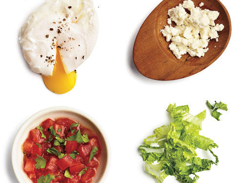 1 large poached egg + 1 tablespoon fresh salsa + 1/4 cup green leaf lettuce + 1 tablespoon queso fresco