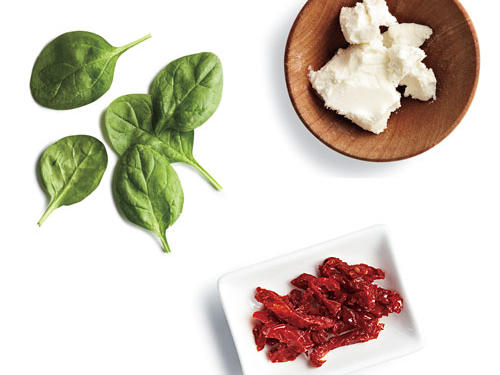 2 tablespoons chopped sun-dried tomatoes + 1/4 cup fresh spinach + 1 ounce goat cheese