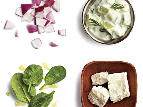1 tablespoon chopped red onion + 2 tablespoons crumbled feta + 1/4 cup fresh spinach tossed with 1/2 teaspoon extra-virgin olive oil + 1 ounce tzatziki sauce
