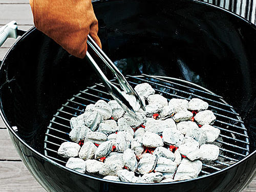 Grilling Vegetables: Spread the bed of coals.