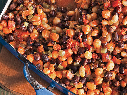 Three kinds of beans take the classic dish from ho-hum to fun, with different shapes and pleasing textures—from the al dente bite of chickpeas to the creaminess of Great Northern beans. If you happen to use hot smoked paprika, you can omit the ground red pepper.