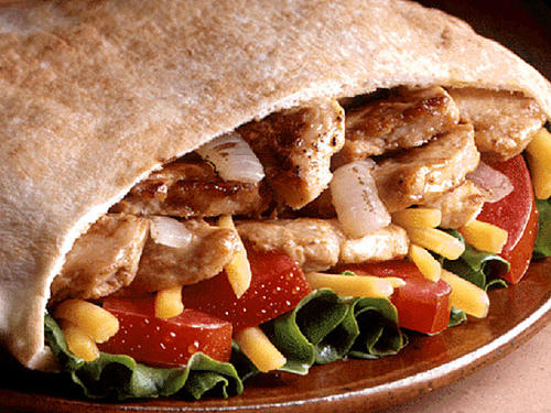 Jack in the Box Chicken Fajita Pita made with whole grain