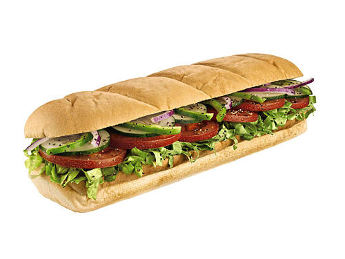 This crunchy combo of lettuce, tomatoes, onions, green peppers, and black olives from Subway is like a salad in a sub. With 2 servings of produce, you'll score a third of your day's calcium and 20% of your daily dose of vitamin C. Order yours on 9 grain wheat and ask for avocado and a drizzle of oil and vinegar to make it even more heart healthy.Stats: 230 calories, 3 grams fat, 310 milligrams of sodium