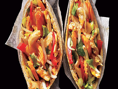 Peanut-Sauced Chicken Pitas Comfort Food Recipe