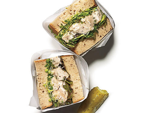 Pick up a rotisserie chicken from the market, and this Herbed Chicken Salad Sandwich is a snap. That said, if you make the chicken salad a day or so ahead, the flavors will marry nicely as the filling chills. Try on a wedge of focaccia, and toast in a grill pan for a chicken salad panini.