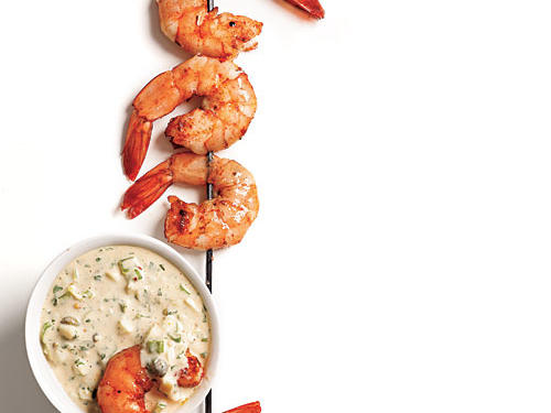 Hickory wood and a robust rub give grilled shrimp a smoky and enticing flavor. The rémoulade cools down the dish with its creamy texture.