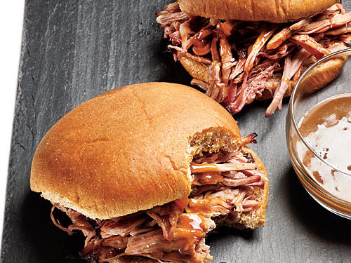 Be prepared—this pulled pork involves about 7 hours of cooktime, although hands-on time is only an hour. The pork and homemade barbecue sauce will be delicious when reheated and served between a whole-wheat hamburger bun.
