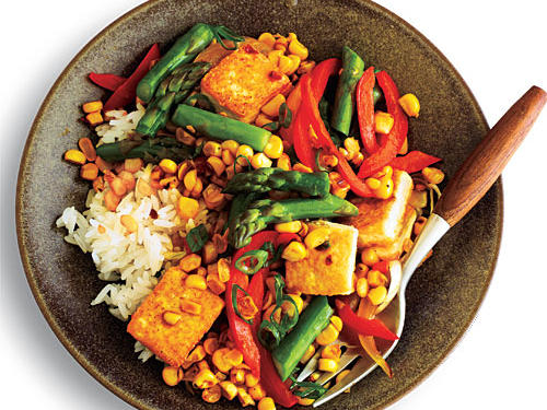 Go vegetarian one day a week. For an easy substitution in a stir fry, use 1/2 cup cubed tofu (marinated in soy sauce, garlic, ginger, and peanut oil) instead of chicken. Cook as usual with your veggies for a satisfying dinner.