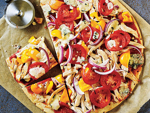 Healthy BBQ Chicken and Blue Cheese Pizza Recipe