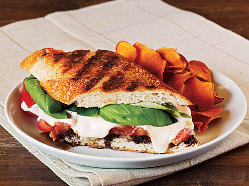 Crusty Cuban bread is perfectly complemented with creamy mozzarella and a slice of juicy tomato. Serve with sweet potato chips or a simple green salad.