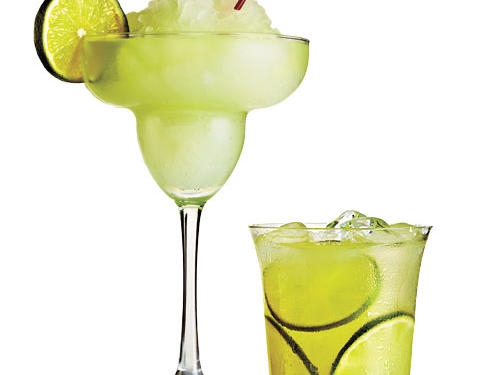 When chip-and-salsa joints lean on the sugar to make tall, sweet drinks, it adds up fast in the glass.Happy Hour Frozen Margarita vs. our Classic, on the RocksA regular happy hour frozen margarita is around 12 ounces and weighs in at 410 calories (56% coming from sugar). Our lightened version is 130 calories for a 6-ounce portion with just 14% coming from sugar.The Cooking Light Margarita:1 ounce premium or silver tequila, 1/2 ounce Cointreau or other orange-flavored liqueur, 1.5 ounces fresh-squeezed lime juice. Shake with 3/4 cup ice; garnish with lime.