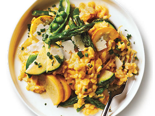 Creamy, starchy risotto is a delicious way to transport your favorite ingredients. The key to risotto is stirring often in order to lure starch from the grains. For a quick lesson in risotto 101 refer to our guide,