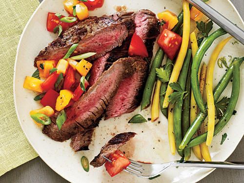 Serve this summery steak dinner with bread to bulk up this light meal.