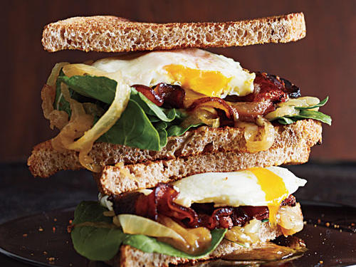 Breakfast for Dinner: Bacon and Egg Sandwiches with Caramelized Onions and Arugula Recipe