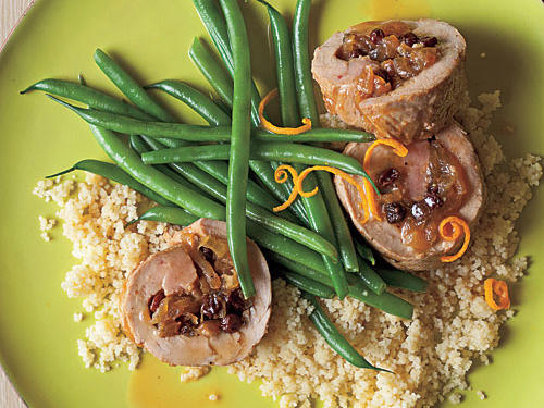 Citrus and pork tenderloin make a delicious combination, particularly in the winter when citrus is at its juicy best. Other seasonal citrus would work well in this dish, such as clementines, tangerines, pomelos, or blood oranges. Dried currants double down on the sweetness, as do the lightly caramelized onions, all of which is tempered by the tart, dry sherry vinegar. You can sub raisins for currants, and red or white wine vinegar would work just fine in place of sherry vinegar. Stuffing the pork allows for each forkful to be packed with all the flavors present in the dish. Serve with couscous and fresh green beans.