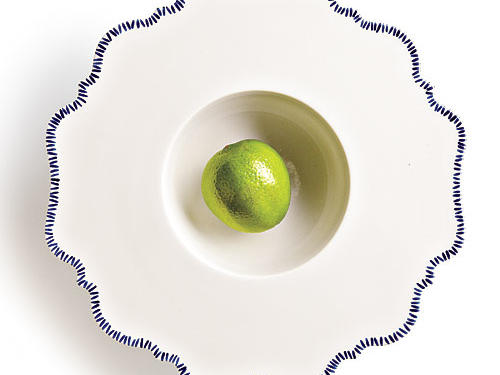 Reichenbach's wide-rimmed Taste Blue china dessert bowl is show-off gorgeous.Price: $135Shop: Tabula Tua