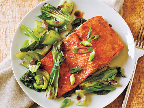 Bok choy and low-sodium soy sauce combined with salmon provides tasty Asian flavor with a heart-healthy dose of omega-3 fatty acids.