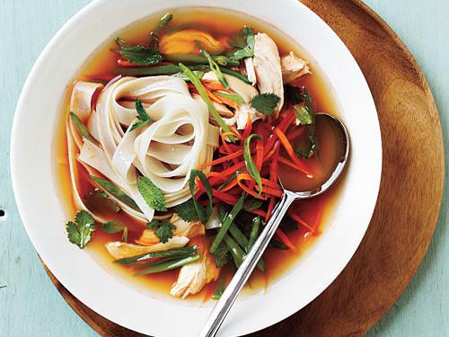 This broth packs a lot of flavor in just a little time. If you don't have the Sriracha on hand, thin slices of jalapeño pepper make a good substitute.