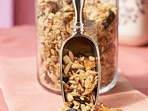 "Granola makes a great portable snack with lots of fiber. Pack in an individual reusable container, and stash in a purse, backpack, or diaper bag for hunger ""emergencies."""
