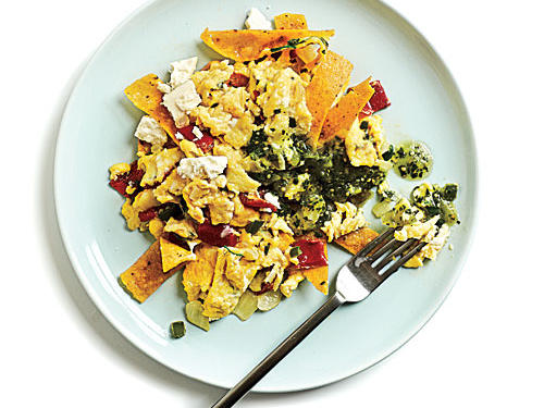Enjoy this one-skillet dish for breakfast, lunch, or dinner. With salsa verde, red bell pepper, queso fresco, and jalapeño, it's full of flavors everyone will enjoy.