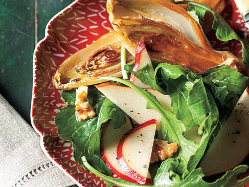 Whole Roasted Endives with Pear, Arugula, and Walnut Salad