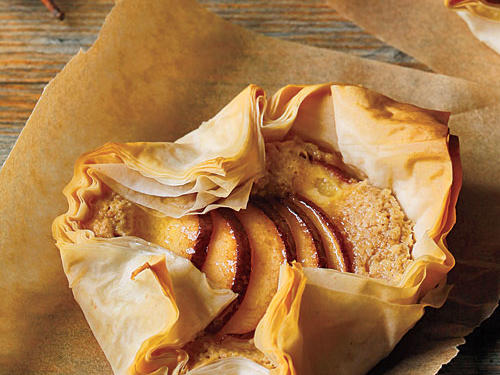 Sheets of crisp, paper-thin phyllo dough encase a filling of toasted ground almonds, with red-skinned pears as the crowning touch. We call for Anjou, but you can also use Bartlett, Bosc, or Concorde pears.