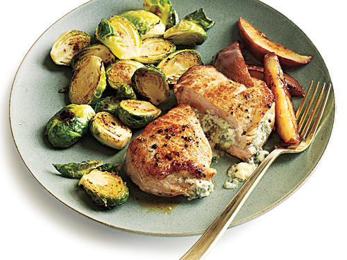 Blue Cheese-Stuffed Pork Chops with Pears