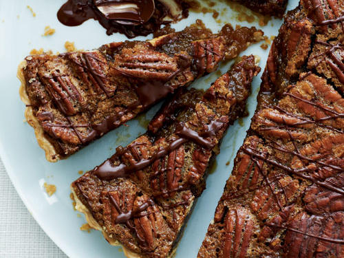 Bourbon-Pecan Tart with Chocolate Drizzle Recipe