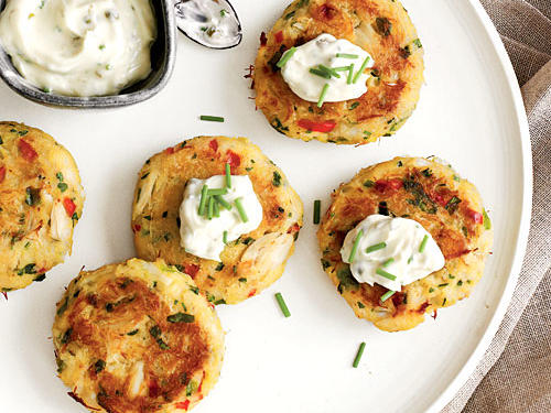 Under 100 Calorie Appetizer: Mini Corn Bread Crab Cakes with Lemon-Caper Sauce