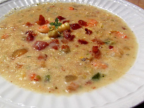 Christiane's Bacon-Corn Chowder with Shrimp