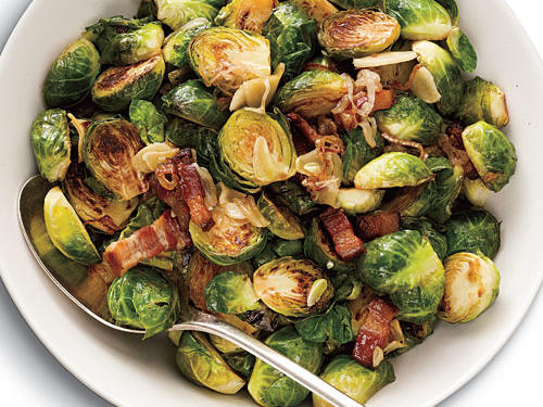 Gluten-Free Brussels Sprouts with Bacon, Garlic, and Shallots Recipe