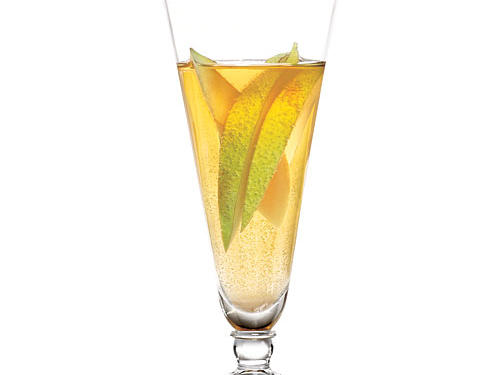 Pear liqueur and a dry sparkling wine make for a heady combo in this beautifully aromatic sipper.