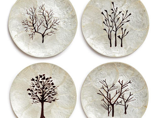 Pretty in pearl: Capiz dessert plates inlaid with seasonal scenes.