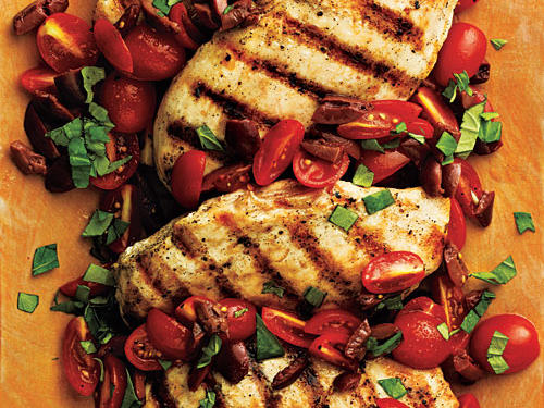 Pan-Seared Chicken with Tomato-Olive Relish Recipe