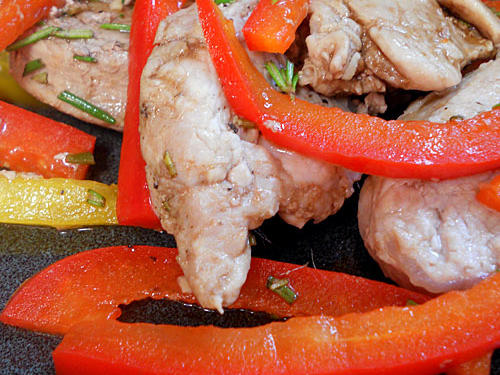 Marsha Moore's Superfast Pork with Red and Yellow Peppers