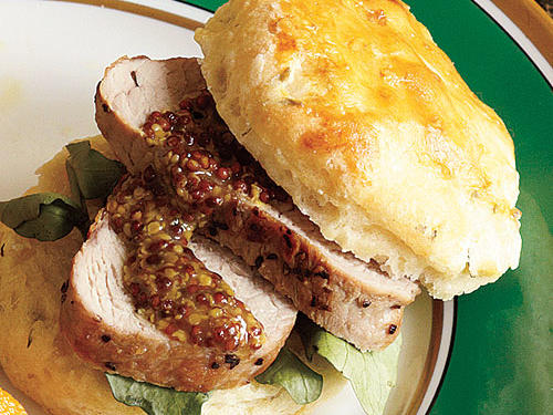 Pork Tenderloin with Herbed Biscuits Recipe