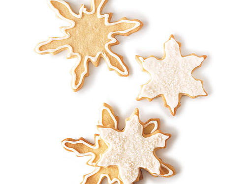 Add water to icing a drop at a time for thinner spreading consistency. Decorate with dragée (sometimes called sugar pearls), gold or silver dust, and coarse or sparkling sugar, and tint the frosting with food color paste. All are available at coppergifts.com. Make the cookie dough up to a month in advance, wrap it tightly, and freeze. Thaw dough completely by placing it in the refrigerator overnight.View Recipe: Iced Sugar Cookies